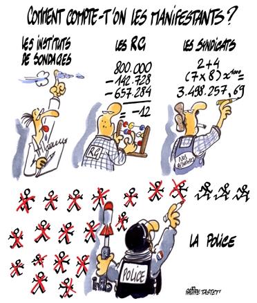 dessin : Comment compte-t'on les manifestants