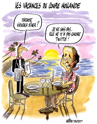 dessin : Les vacances du couple hollande