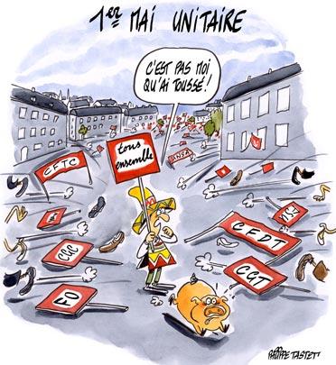 dessin : Grippe porcine : un 1er mai unitaire
