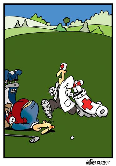 dessin de golf : Respectez les distances -  Fore !