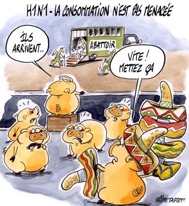 dessin : H1N1 - la consommation n'est pas menacée