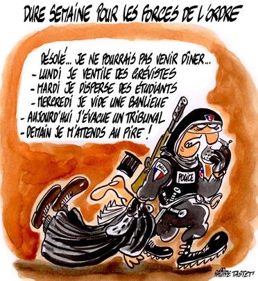 dessin : Dure semaine pour les forces de l'ordre