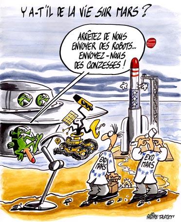 dessin : Y-a-t-il de la vie sur Mars