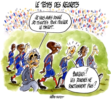 dessin humoristique foot : equipe de france de football coupe du monde