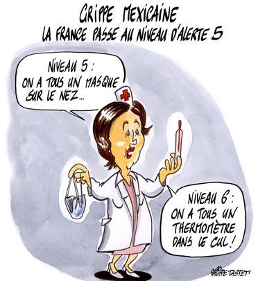 dessin : Grippe mexicaine : la France passe au niveau d'alerte 5