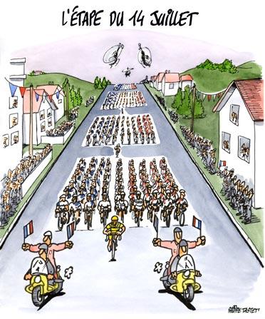 dessin : Tour de France , l'étape du 14 juillet