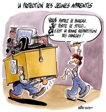 dessin : La protection des jeunes apprentis