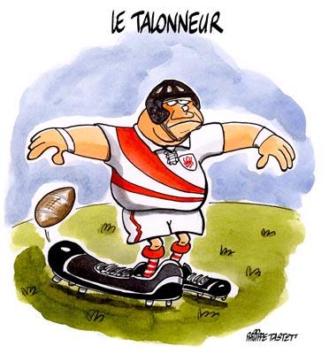 dessin humoristique rugby : le talonneur