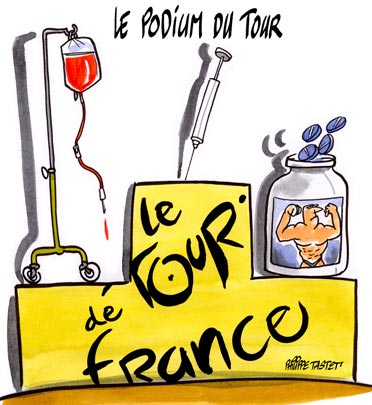 dessin : L'arrivée du Tour de France