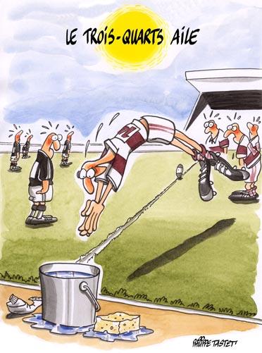 dessin humoristique rugby : le trois quarts aile