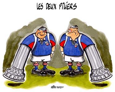 dessin humoristique rugby  :  les deux piliers