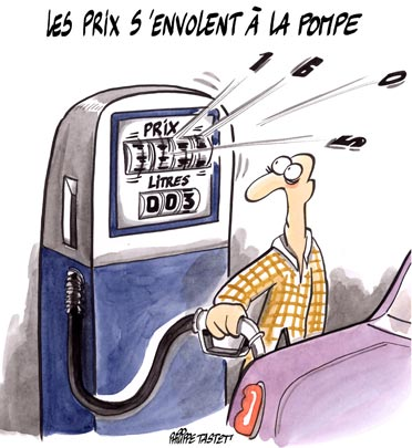 dessin : Les prix s'envolent à la pompe