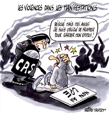 dessin : La violence dans les manifs anti-CPE