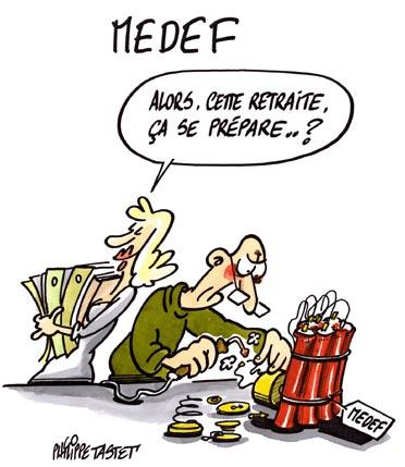 dessin : Medef, la retraite