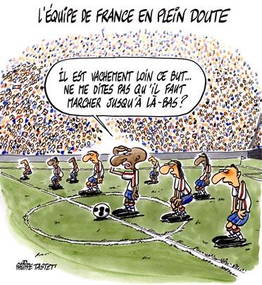 Dessin : Foot - l'équipe de France en plein doute