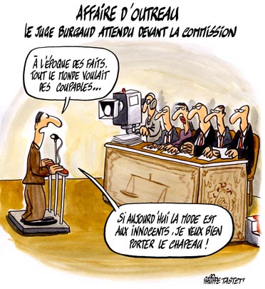 dessin : Affaire d'Outreau, le juge burgaud attendu devant la commission
