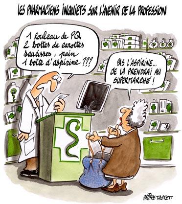 dessin : Les pharmaciens inquiets sur l'avenire de leur profession