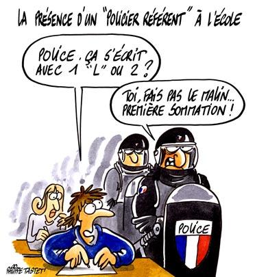 Afin d'endiguer les violences scolaires, Gilles de Robien a proposé la présence d'un « policier référent » dans les établissements. « Il n'y a rien d'aberrant à ce que la police et la justice coopèrent avec l'éducation »... ça peut être aussi très utile !