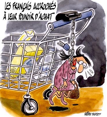 dessin : Les français accrochés à leur pouvoir d'achat