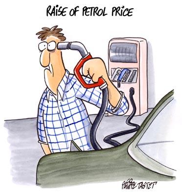Cartoon press : Raise of petrol price