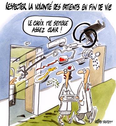 dessin : Respecter la volonté des patients en fin de vie