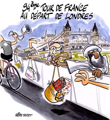 dessin : Le Tour de France 2007 au départ de Londres