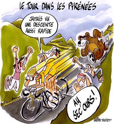 dessin : Le Tour de France dans les Pyrénées