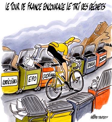 dessin : Le Tour de France encourage le tri des déchets