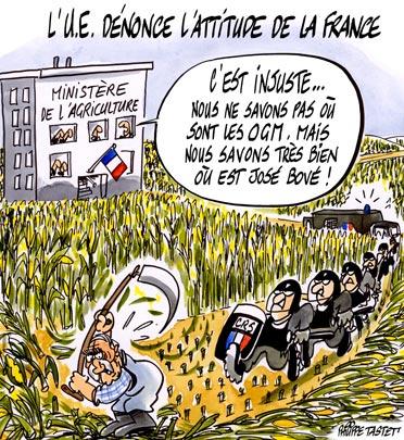 dessin : l'UE dénonce l'attitude de la France à propos des OGM