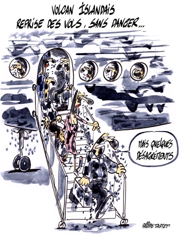 dessin : Transport aérien, reprise des vols malgré les cendres du volcan islandais