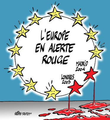 dessin de presse : L'europe en alerte rouge