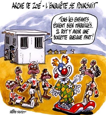 dessin : Arche de Zoé - l'enquête se poursuit