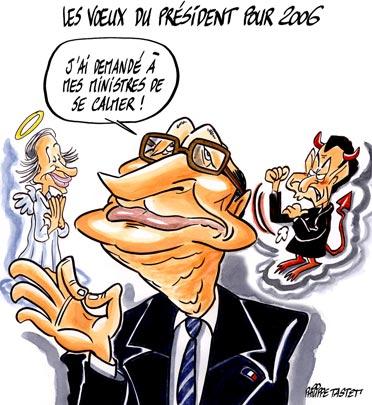 dessin de presse : Les voeux pieux du président pour 2006