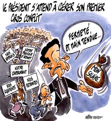 dessin : Nicolas Sarkozy s'attend à gérer son premier gros conflit