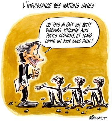 dessin de presse : L'impuissance des Nations Unies