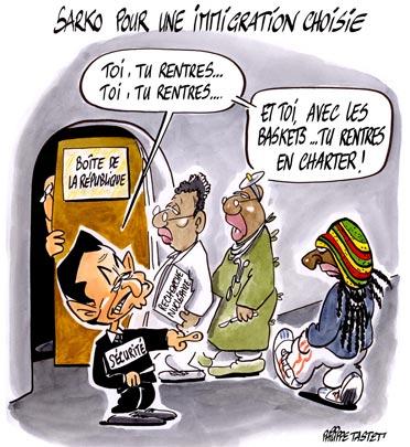 """dessin de presse : Nicolas Sarkozy pour une immigration """"choisie"""""""