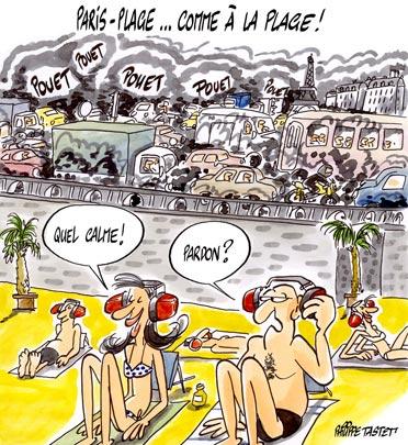 dessin : Paris-plage... c'est comme à la plage