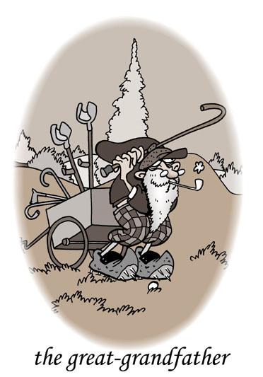 dessin humoristique de golf, la passion du golf : L'arrière grand-père