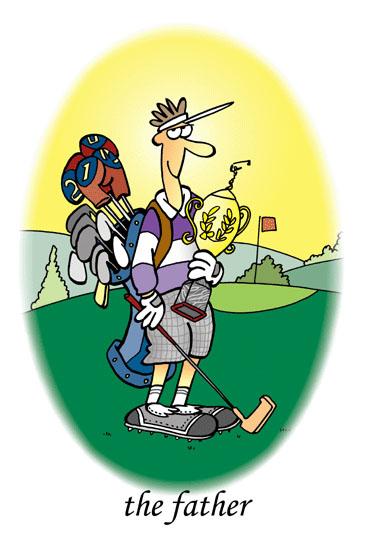 dessin humoristique de golf, la passion du golf :  Le père