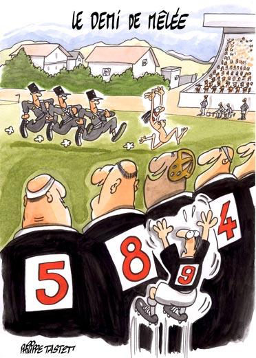 dessin humoristique rugby  : Le demi de mêlée