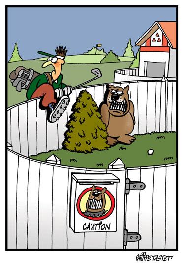 Dessin de golf :  Les dangers du hors limite