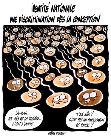 dessin : Identité Nationale - une discrimination dès la conception