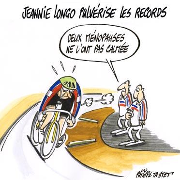dessin humoristique vélo : Jeannie Longo pulvérise les records