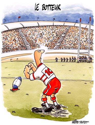 dessin humoristique rugby : le botteur numéro 10