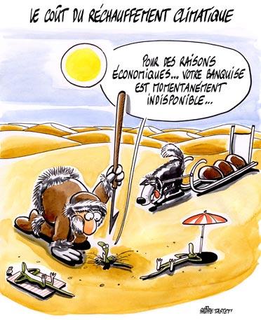 Dessin : La banquise craque - Le coût du réchauffement climatique