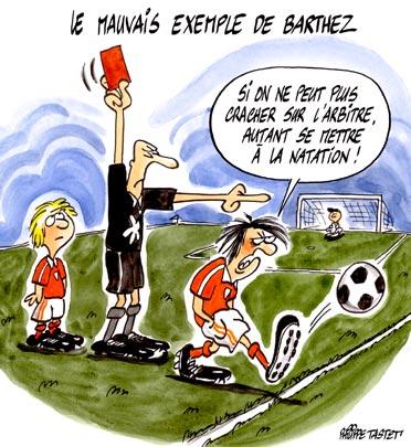 dessin humoristique football : Le mauvais exemple de Barthez