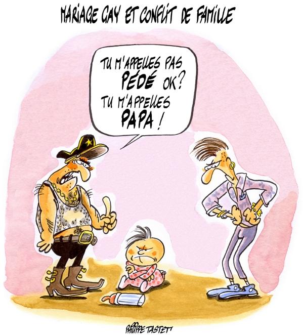 dessin : mariage gay et conflit de famille