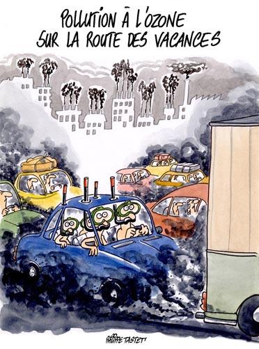 Dessin de presse : La pollution à l'ozone sur les routes des vacances