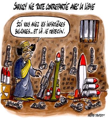 dessin : Nicolas Sarkozy nie toute contrepartie avec la Libye
