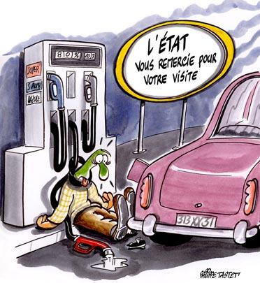 dessin : taxes sur l'essence, l'état vous remercie de votre visite